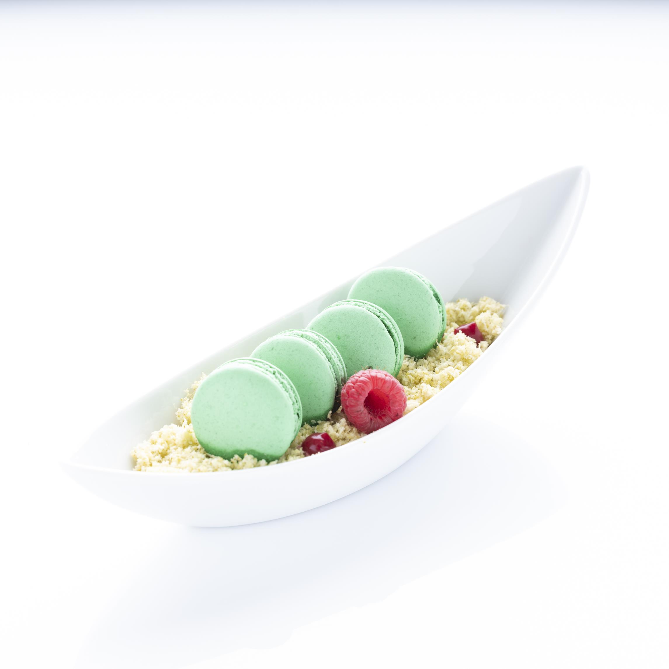 Vegan Lime Raspberry Macarons